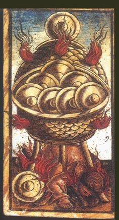 Nine of Coins:   Meaning of Nine of Coins from the Sola Busca Deck   Upright:   Money or advantage taken from others. Careers built on the backs of workers.   Reversed:   The beginnings of financial freedom  source: Italian Tarot/Sola Busca/Italy, c.1491