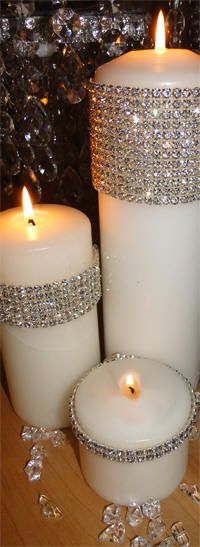 I have to have these as centerpieces at my wedding. This is completely awwmazing ✯ Rhinestone Bands for White Candles :: From Decorate My Wedding by Gwen Leapaldt ✯ Christmas Time, Christmas Crafts, Christmas Decorations, Christmas Candles, Xmas, Holiday Decor, Christmas Ornaments, Wedding Centerpieces, Wedding Decorations
