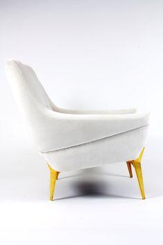 Charles Ramos; Brass Legged Lounge Chair for SAS, 1950s.