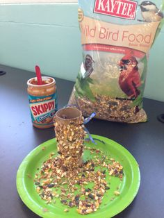 Bird feeder Materials used: Paper plate (for seeds) Ribbon or yarn (to hang feeder) One hole puncher (to make holes) Peanut butter Popsicle stick (smear peanut butter) Toilet paper roll Bird seeds