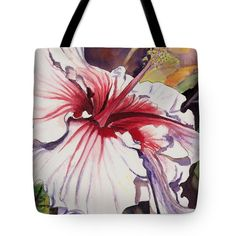 "Dancing Hibiscus Tote Bag by Marionette Taboniar (18"" x 18"").  The tote bag is machine washable, available in three different sizes, and includes a black strap for easy carrying on your shoulder.  All totes are available for worldwide shipping and include a money-back guarantee."