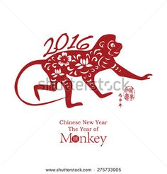 Chinese year of monkey made by traditional Chinese paper cut arts / Monkey year Chinese zodiac symbol / Red stamps Translation: Everything is going very smoothly.