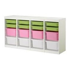 "TROFAST storage combination, multicolor, white Length: 72 1/2 "" Depth: 11 3/4 "" Height: 37 "" Length: 184 cm Depth: 30 cm Height: 94 cm"