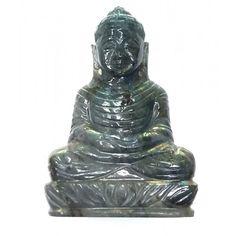 Lord Buddha Hand Carved On Natural Labradorite Gemstone from Mahavir Gems