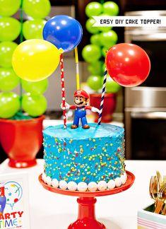 Welcome to Part 2 of my 12 Super Mario Inspired Party Ideas! Bolo Do Mario, Bolo Super Mario, Mario Birthday Cake, Super Mario Birthday, 7th Birthday, Birthday Ideas, Super Mario Torte, Super Mario Cupcakes, Mario Party