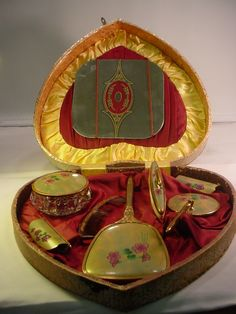 Heart shaped early 20th century dresser box and display set