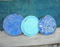 Old Graniteware Pans, 3 Blue and White Enameled Grub Pans, Antique Early 1900s, Farmhouse or Country Kitchen Primitive Decor, Collectibles