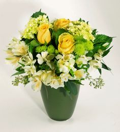 LEMON LIME: This bright and sunny arrangement features roses, hydrangea, alstroemeria & poms. This will brighten any day!  #MatlackFlorist