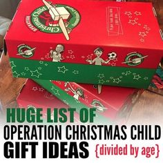 Operation Christmas Child Gift Ideas- Easy Gift Ideas by Age - - Making an Operation Christmas Child box this year? Here is a Huge list of Samaritan's Purse Operation Christmas Child Gift Ideas – Operation Christmas Child Gift Ideas divided up by age. Winter Christmas Gifts, Christmas Gift Baskets, All Things Christmas, Kids Christmas, Christmas Wreaths, Christmas Crafts, Christmas Boxes, Cheap Christmas, Christmas Parties