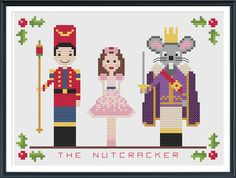 Make this easy and pretty christmas scene from The Nutcracker with Clara, the Nutcracker Prince, the Mouse King and a holly berry border on 14-count aida cloth. Description from tinymodernist.com. I searched for this on bing.com/images