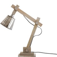 Scandi Dark Timber and linen Desk Lamp 52cm – Lifestyle Home ...:Timber Desk Lamp – Antiqued Nickel,Lighting