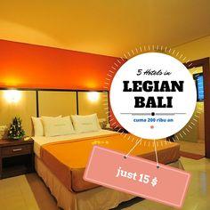 5 #Hotels in #Legian #Bali - only 15 $