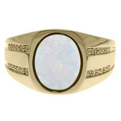Oval-Cut Opal and Diamond Men's Ring In Yellow Gold Gemologica.com offers a unique selection of mens gemstone and birthstone rings crafted in sterling silver and 10K, 14K and 18K yellow, white and rose gold. We have cool styles including wedding and engagement rings, fashion rings, designer rings, simple stone and promise rings. Our complete jewelry collection of gemstone rings for men can be seen here: www.gemologica.com/mens-gemstone-rings-c-28_46_64.html