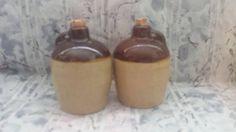 $12--Vintage Set of Pottery Whiskey Jug Salt & Pepper Shakers   * Mid Century Jug Shakers * by JunkYardBlonde on Etsy