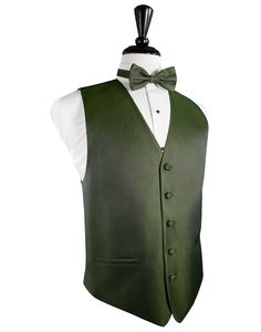 Sage Herringbone Tuxedo Vest Sage 5 Button Front Tuxedo Vest Subtle Herringbone Pattern Faux Besom Pockets Full Back Design Available with Matching Bow Tie or Long Tie Available in Long Sizes for Gentleman 6'1