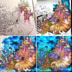 Coloring Book Art, Colouring Pages, Adult Coloring Pages, Enchanted Forest Coloring Book, Colored Pencil Techniques, Coloring Tutorial, Polychromos, Coloured Pencils, Color Pencil Art