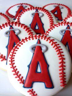 1 Dozen  Los Angeles Angels Logo Baseball Cookies by Sugared Hearts Bakery