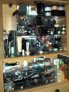 Impressive storage solution and fairly simple!  Good god, how much makeup does one person need?