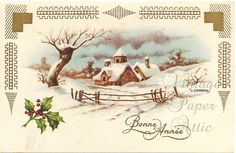 Vintage French Christmas Postcard Cottage by VintagePaperAttic