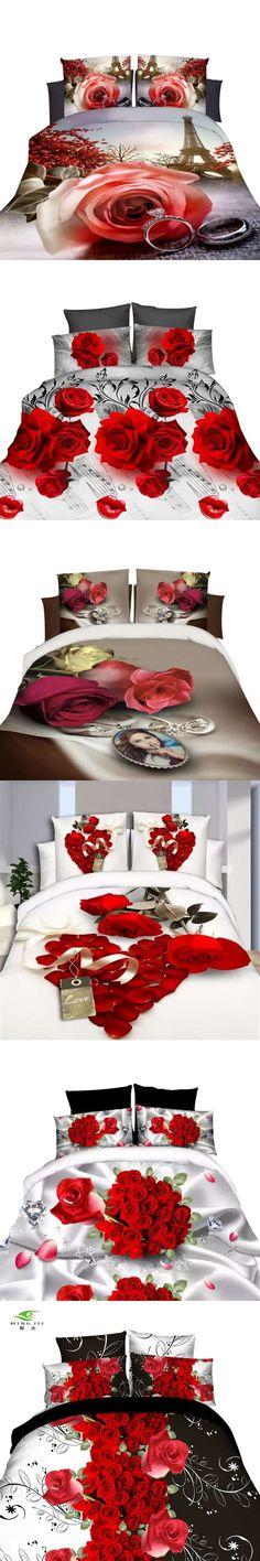Red Rose 3D Bedding Cover Sanding Bed Linen for Girls Queen Size Duvet Set  4pcs Contain a6dd84a7d6567