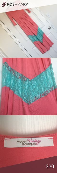 NWOT maxi dress Chevron lace detail maxi dress ▪️ Size: Small ▪️ Colors: Pink & Aqua ▪️ Condition: NWOT, bought from Modern Vintage Boutique▪️ Details: Floral lace, 3/4 length sleeves, considerable stretch ▪️ Material: 95% Polyester, 5% Rayon, 5% Spandex Modern Vintage Boutique Dresses Maxi