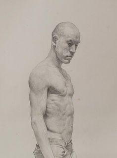Pen artist Sam Kim   Self-portrait with torso   Pen drawing (2012)