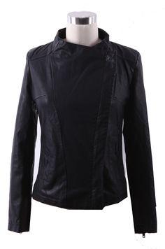 Black Band Collar Pocket Side PU Leather Biker Jacket EUR€29.34