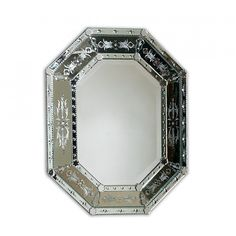 La Barge Hand Cut and Etched Shaped Venetian Glass Mirror Frame, Beveled Mirror