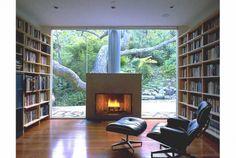 fireplace in centre of window. Pinned by Secret Design Studio, Melbourne. www.secretdesignstudio.com