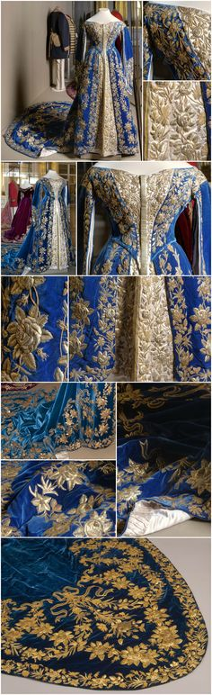 Ceremonial court dress belonging to Empress Alexandra Fyodorovna. Made by the workshop of O. Velvet, satin and gilded metal thread. Vintage Outfits, Vintage Gowns, Mode Vintage, Historical Costume, Historical Clothing, Historical Dress, Beautiful Gowns, Beautiful Outfits, Victorian Fashion