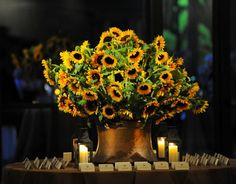 #sunflowers in a #vintage #copper kettle #placecard table display for #autumn #mitzvah {EvantineDesign.com, Susan Beard Photography}