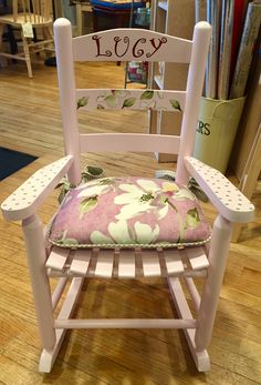 Handpainted child rocker with custom cushion by Woods and Company!