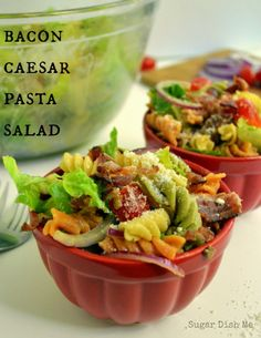 Delicious summer side dish! This Bacon Caesar Pasta Salad comes together really easily with a homemade dressing made with simple pantry items, and bacon.