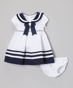 Look at this White & Navy Nautical Dress & Diaper Cover - Infant & Toddler by Gerson & Gerson Fashion Kids, Baby Girl Fashion, Cute Outfits For Kids, Cute Kids, Little Girl Dresses, Girls Dresses, Moda Kids, Nautical Dress, Sailor Dress