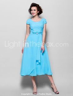 62893ff547c6   99.99  Γραμμή Α Με Κόσμημα Κάτω από το γόνατο Σιφόν Φόρεμα Μητέρας της  Νύφης με Χάντρες   Πλαϊνό ντραπέ με LAN TING BRIDE®