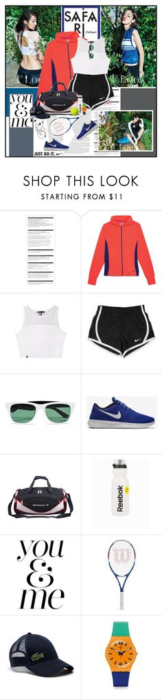 """Just Do It."" by summervintage ❤ liked on Polyvore featuring Arche, Fila, NIKE, Lacoste, BMW, Reebok and Swatch"