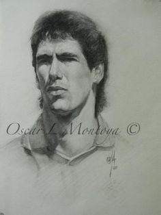 """""""Andres Escobar"""" Charcoal on Paper 15"""" x 18"""""""