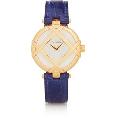 Oscar de la Renta The Lattice alligator and gold-plated stainless... (£720) ❤ liked on Polyvore