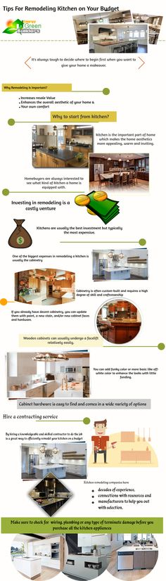 Kitchen is an important part of our home that makes the home aesthetics more appealing, warm, and inviting. Kitchens are usually the best investment but typically the most expensive. However, by hiring a knowledgeable and skilled contractor to do the job is a great way to efficiently remodel your kitchen on a budget. Check this insightful infographics here to know some useful tips and tricks. https://www.energygreenbuilders.com/