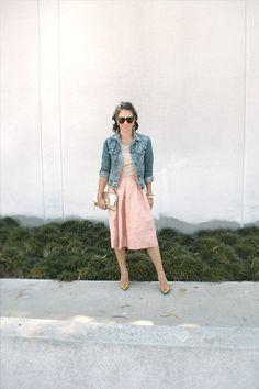 | pink midi skirt |