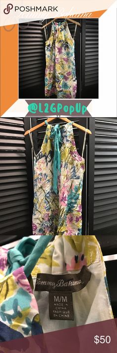 Tommy Bahama Floral Halter Dress Shell:  66% Cotton; 34% Silk Lining:  100% Cotton.  Please see photo for care instructions. Tommy Bahama Dresses Midi