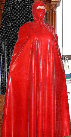 New shiny red latex cape2 photo by lacki310510