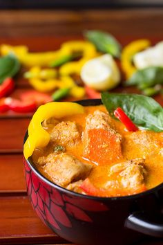 Thai Red Curry Chicken recipe - Fiery, spicy, hot, delicious with a subtle sweet taste coming from coconut milk Thai Chicken Curry, Red Chicken, Thai Red Curry, Fish Recipes, Whole Food Recipes, Cooking Recipes, Healthy Recipes, Thai Curry Recipes, Cholesterol Lowering Foods