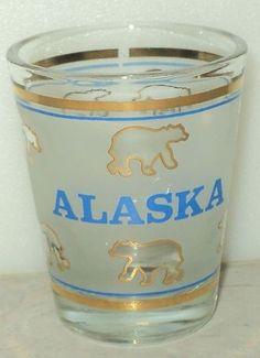 Alaska Shot Glass Bears Gold Blue Frosted Clear Shot Glass Shooter Souvenir | eBay