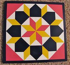 Star of Bethlehem - SB0004 This Star of Bethlehem barn quilt pattern is handpainted in magenta, lemon yellow, white and reflex blue. Border ...