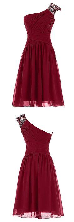 One Shoulder Prom Dress, Short Prom Dresses, A-line Homecoming Dress, Chiffon Homecoming Dresses, Cheap Cocktail Dress