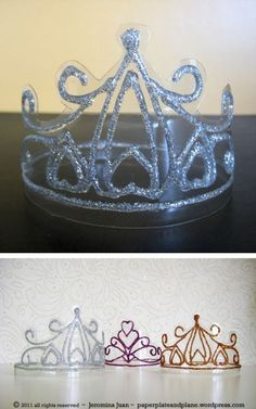 Craft or Bible prop for Esther and other Bible stories with queens. Crowns made from soda bottles and glitter glue.