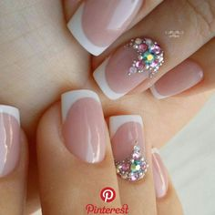 Gem Nails, Gelish Nails, Pink Nails, Hair And Nails, Diy Rhinestone Nails, Nail Art Rhinestones, Nail Candy, Manicure E Pedicure, French Tip Nails