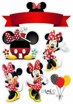 Minnie Mouse Birthday Decorations, Minnie Mouse Theme Party, Mickey Party, Mickey Mouse Birthday, Mouse Parties, Minnie Mouse Stickers, Mickey Y Minnie, Disney Mickey, Disney Art