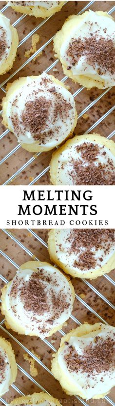Melting Moments are a classic, melt-in-your-mouth shortbread cookie. The vintage recipe has been passed down in my family for generations! #cookies #holidaycookies #Christmascookies #dessert #shortbread #easycookies #cookierecipe #frostedcookie